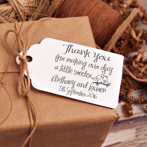 "Thank You ""Anthony & Lauren Birds"" Wedding Favor Stamp"
