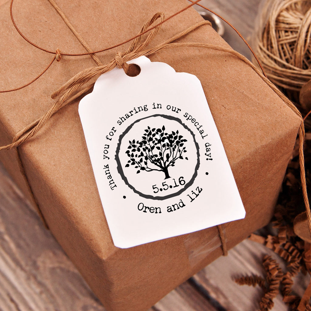 "Thank You ""Oren & Liz Tree"" Wedding Favor Stamp"