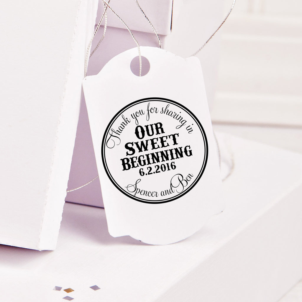 "Thank You for Sharing our Sweet Beginning ""Bold"" Wedding Favor Stamp"