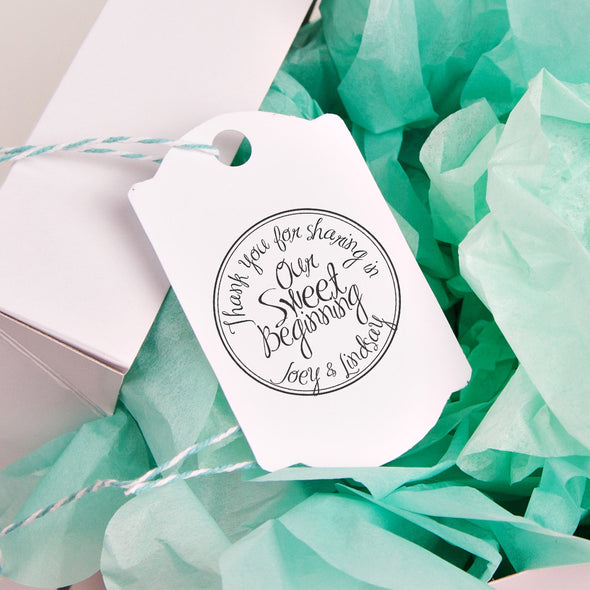 "Thank You for Sharing our Sweet Beginning ""Joey & Lindsay"" Wedding Favor Stamp"