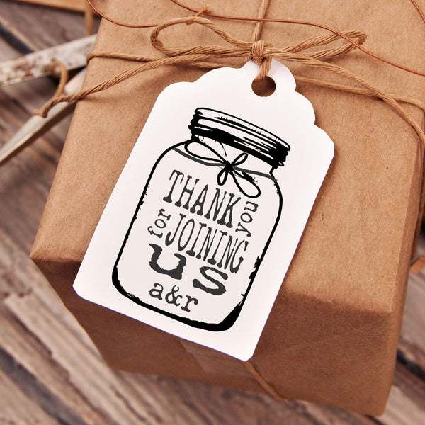 "Thanks for Joining ""Mason Jar"" Wedding Favor Stamp"