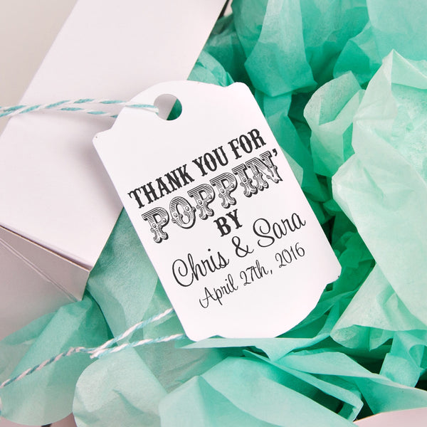 "Thanks for Poppin By ""Chris & Sara"" Wedding Favor Stamp"