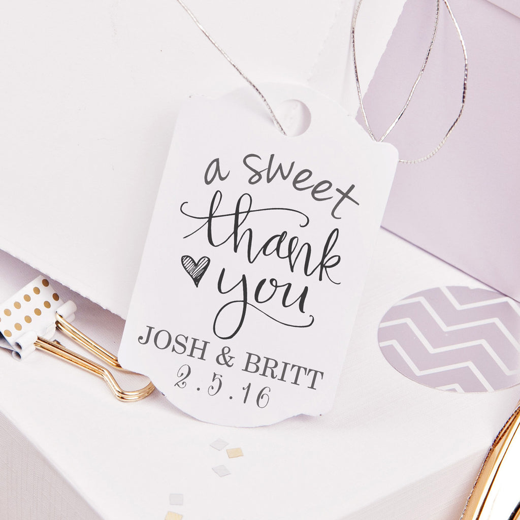 "A Sweet Thank You ""Josh & Britt"" Wedding Favor Stamp"