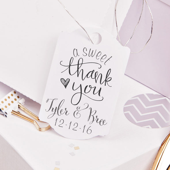 "A Sweet Thank You ""Tyler & Bree"" Wedding Favor Stamp"