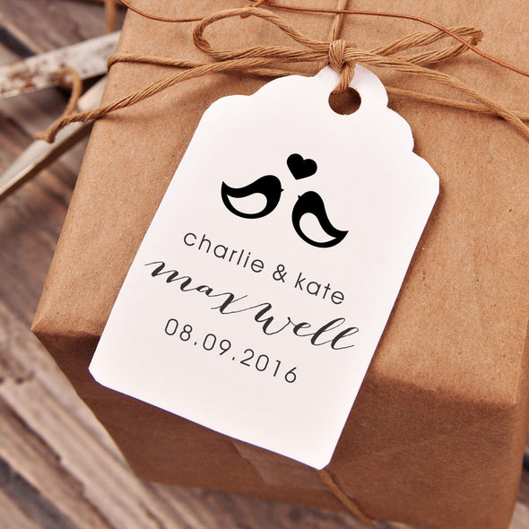 "Love Birds ""Charlie & Kate"" Wedding Favor Stamp"