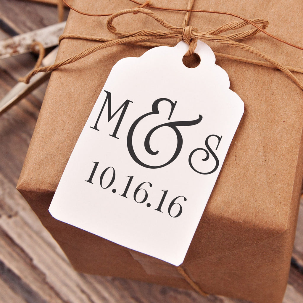 """M&S"" & Date Wedding Favor Stamp"