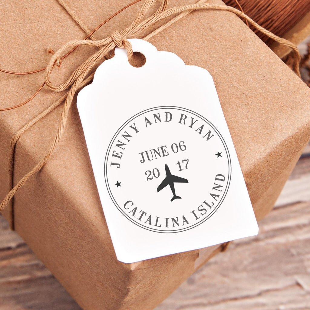 """Jenny & Ryan"" Plane Wedding Favor Stamp"