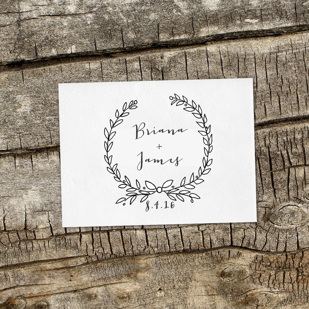 """Briana & James"" Wedding Favor Stamp"