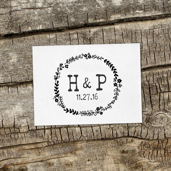 """H&P"" Wreath Wedding Favor Stamp"