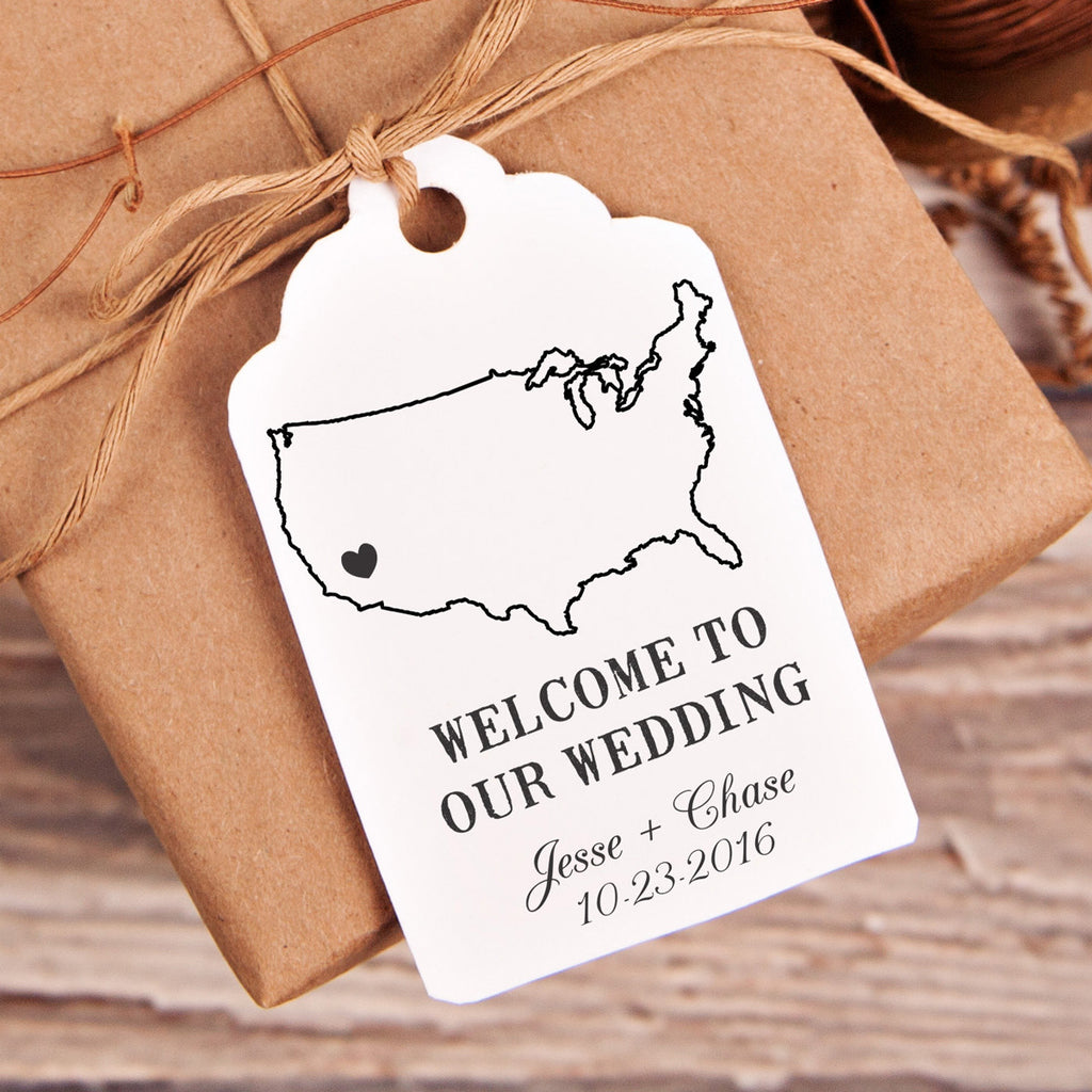 "Welcome to Our Wedding ""Jesse & Chase""  Wedding Favor Stamp"