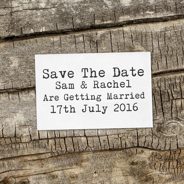 "Save the Date Stamp ""Sam & Rachael"""