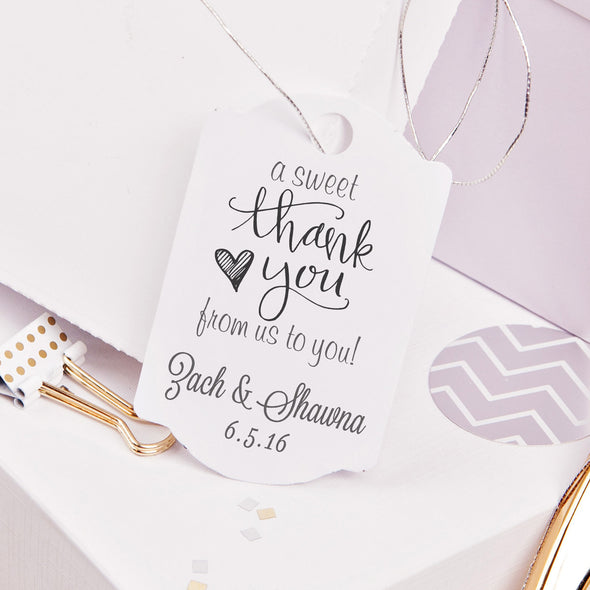 "A Sweet Thank You ""Zach & Shawna"" Wedding Favor Stamp"
