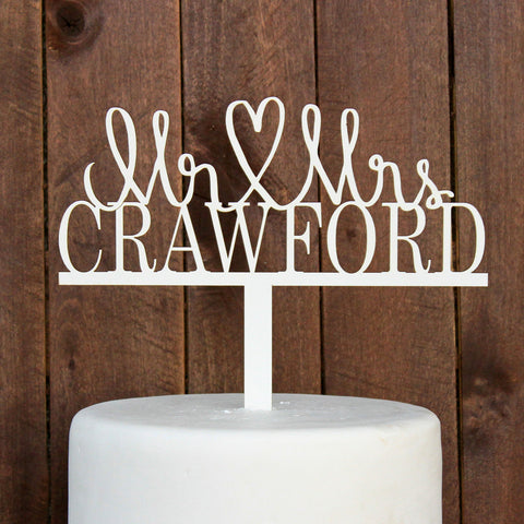 "Cake Topper ""Mr & Mrs Crawford"""