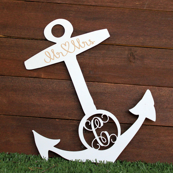 "Wedding Wood Cut Out ""Anchor Monogram"""