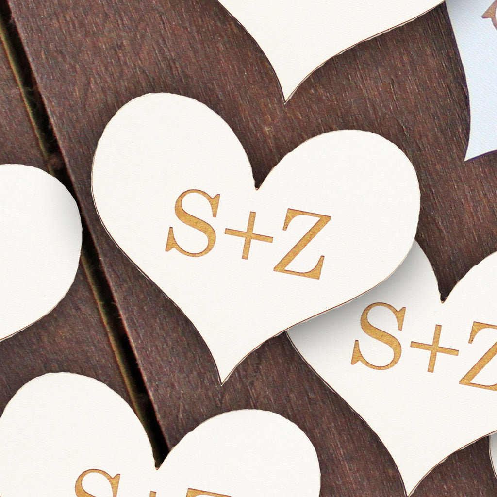 "Wedding Wood Cut Outs ""Initials & Hearts"" - Set of 25"