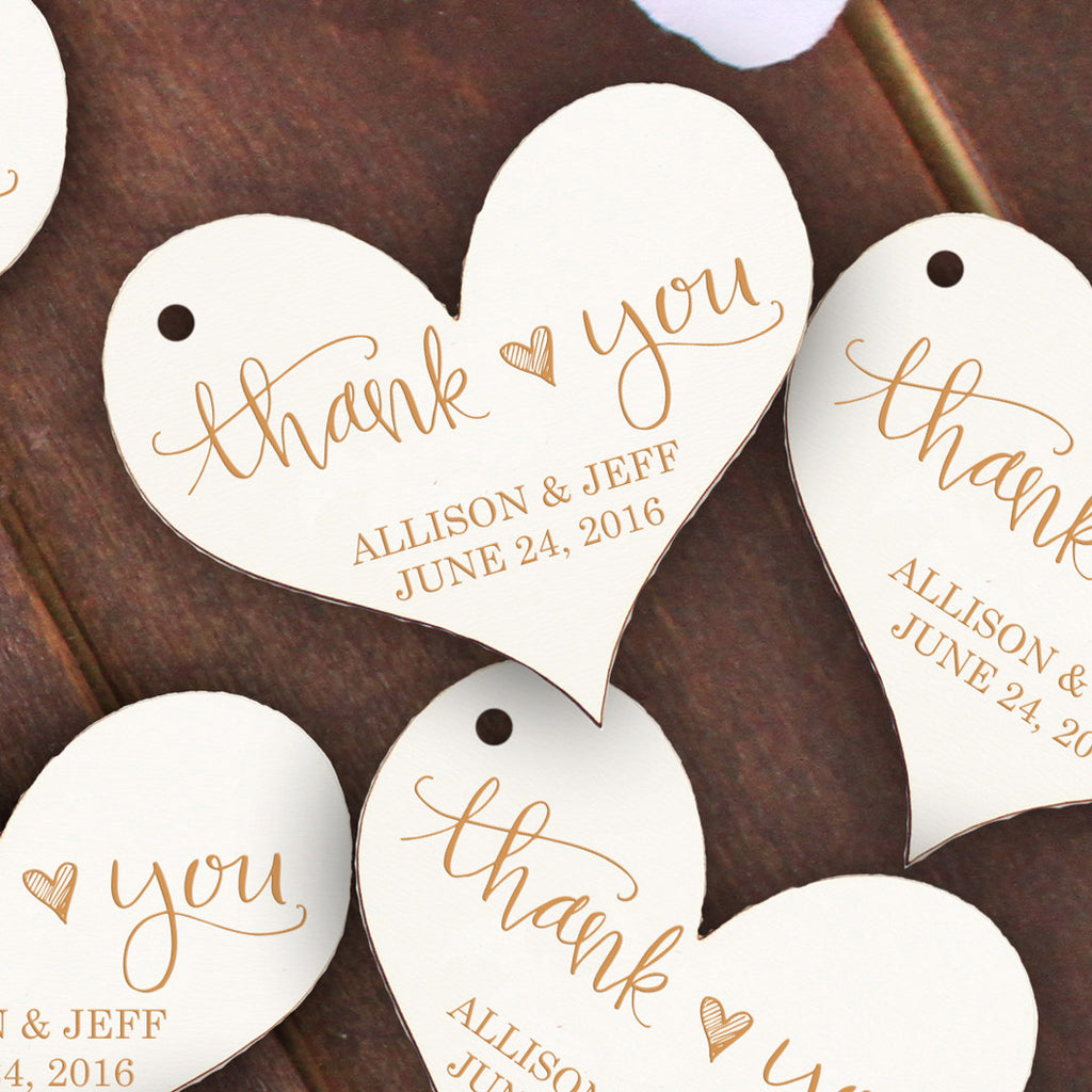 "Wedding Wood Cut Outs ""Thank You Hearts"" -  Set of 25"