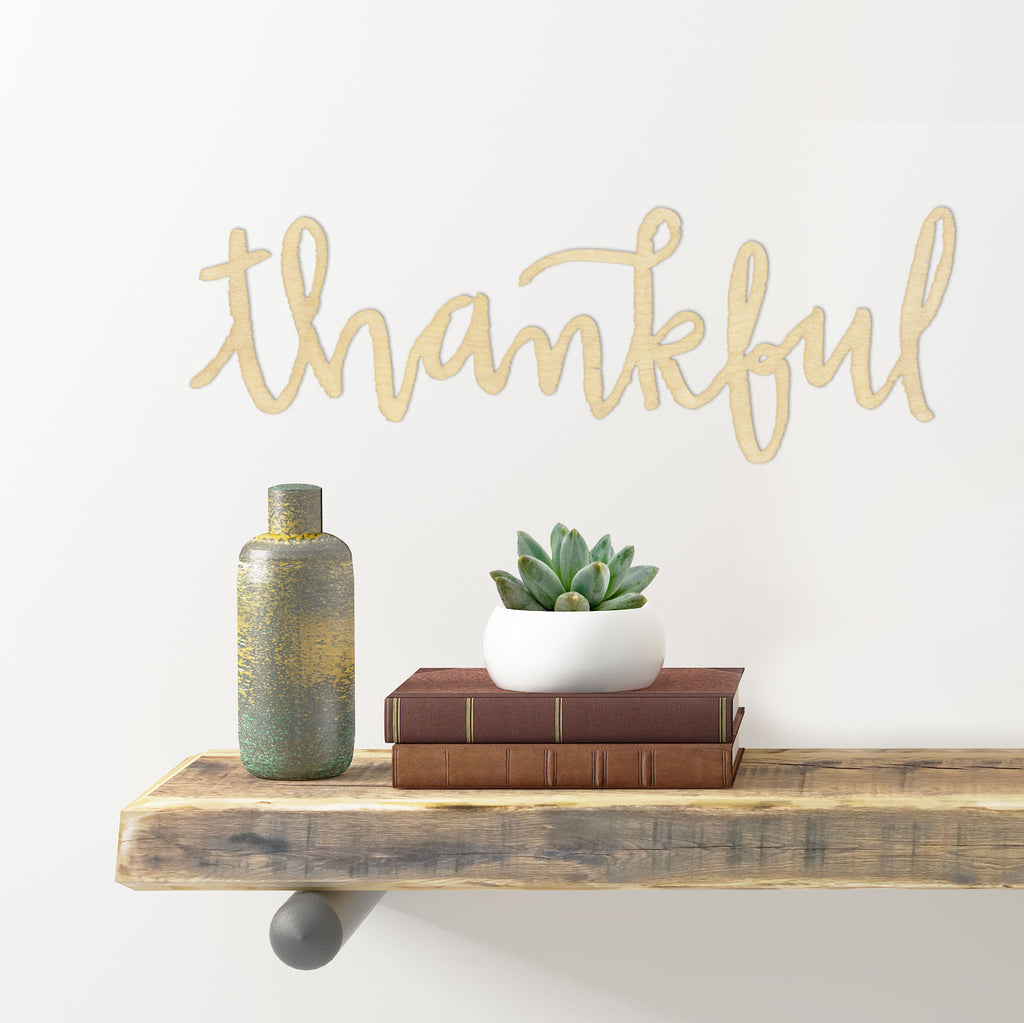 "Cut Out Word Sign, ""Thankful"""
