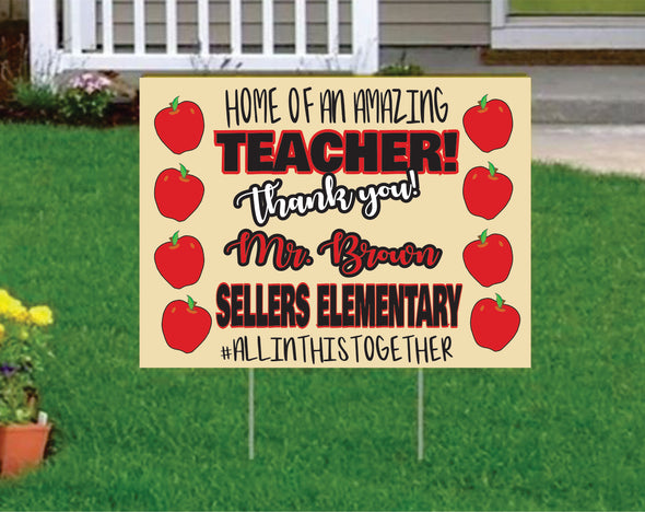 Custom Yard Signs Chalkboard Teacher Appreciation Yard Sign