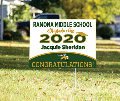 Ramona Middle School Yard Sign Romana Middle School Class of 2020