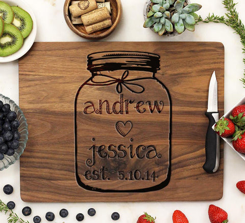 "Cutting Board, Mason Jar ""Andrew & Jessica"""