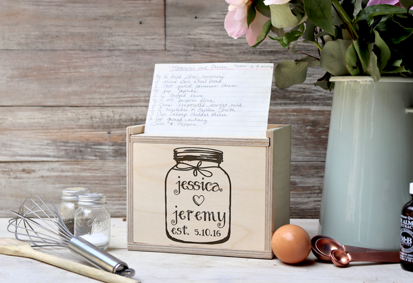 "Personalized Recipe Box, Custom Recipe Box, ""Jessica heart Jamie"" Recipe Box"