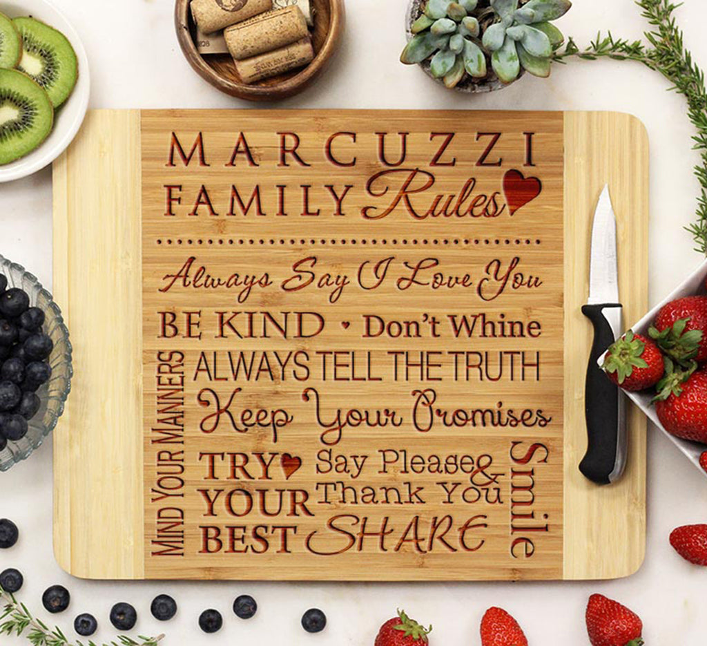 "Cutting Board ""Marcuzzi Family Rules"""