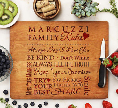 Cute Personalized Cutting Board With Family Rules