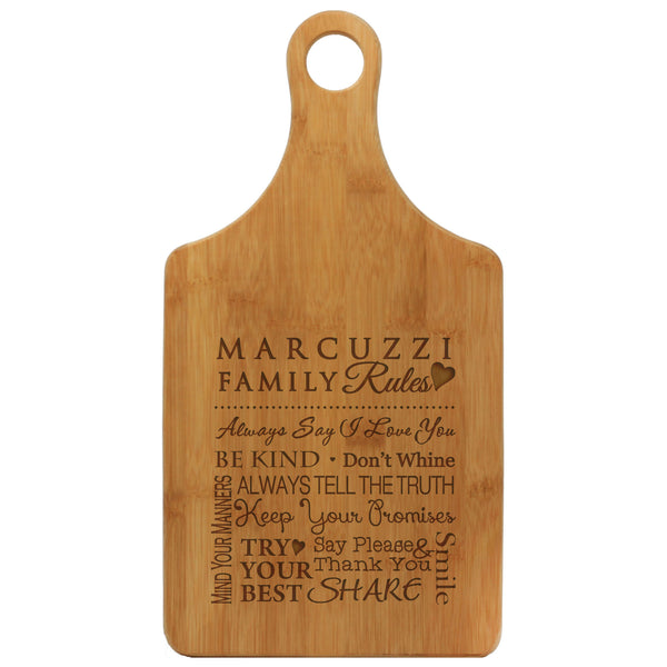 The Family Rules Cheese Board With Last Name