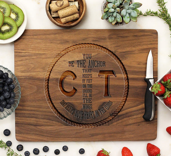 "Cutting Board ""Anchor & Rope Initials"""