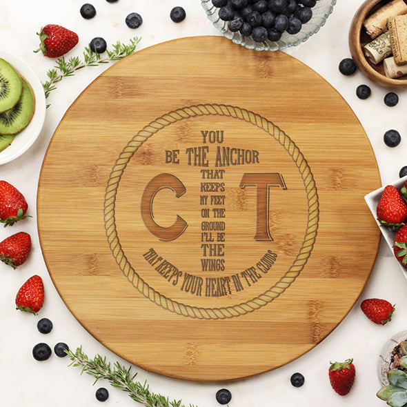 "Round Cutting Board ""Anchor & Rope Initials"""