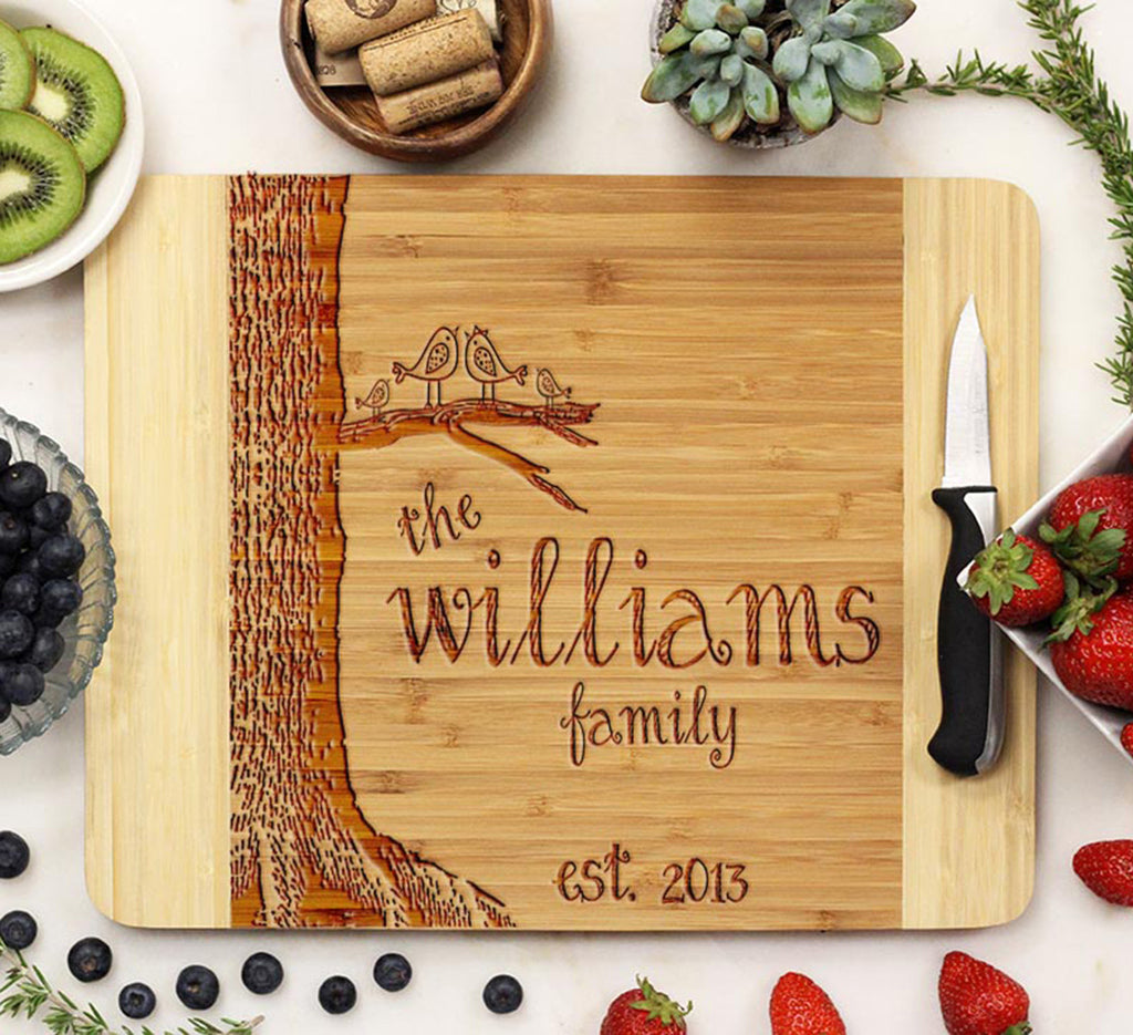 "Cutting Board ""Williams Family Lovebirds & Tree"""