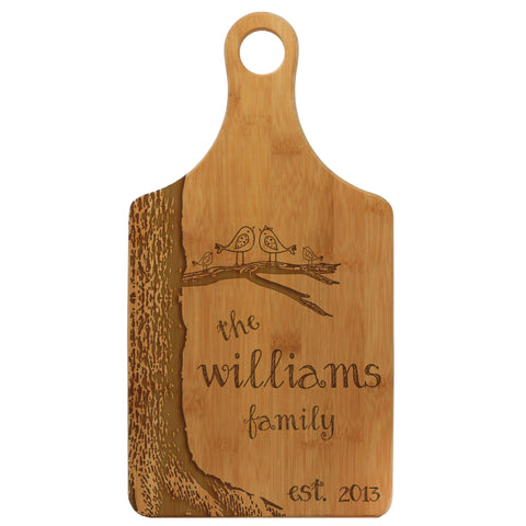 "Paddle Cutting Board ""Williams Family Lovebirds & Tree"""