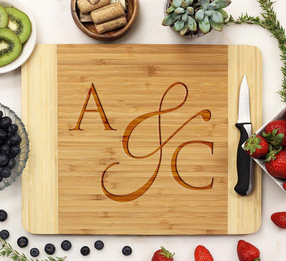 "Cutting Board ""A&C Fancy Initials"""
