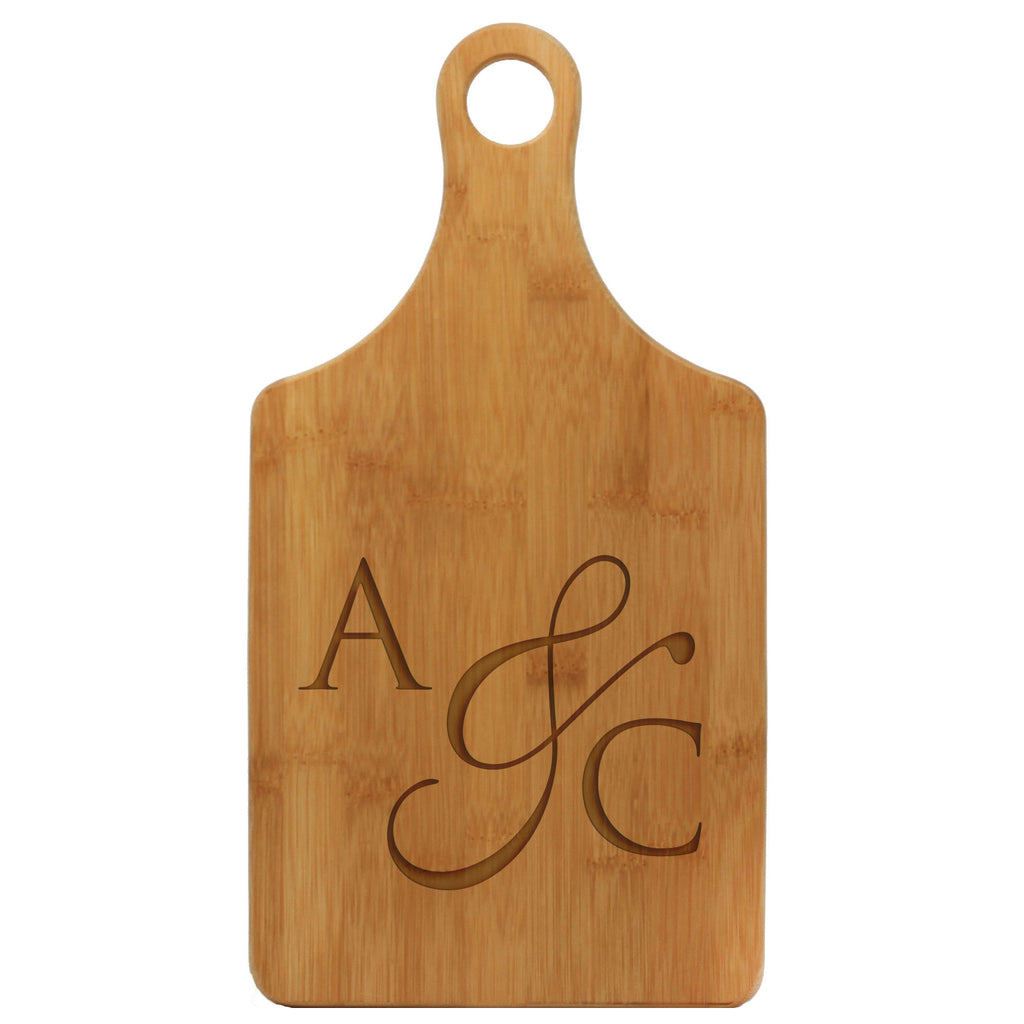"Paddle Cutting Board ""A&C Fancy Initials"""
