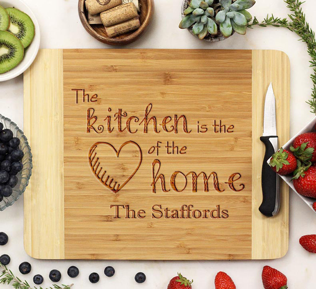 "Cutting Board ""The Kitchen is the Heart of the Home - The Staffords"""