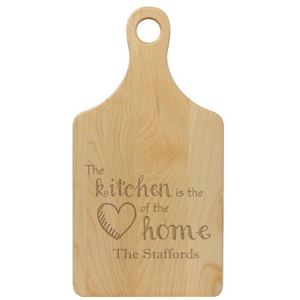 "Paddle Cutting Board ""The Kitchen is the Heart of the Home - The Staffords"""
