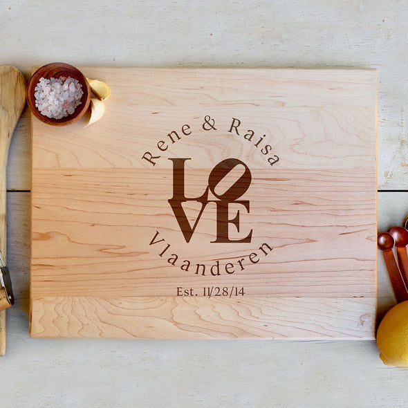 "Cutting Board ""LOVE Rene & Raisa"""