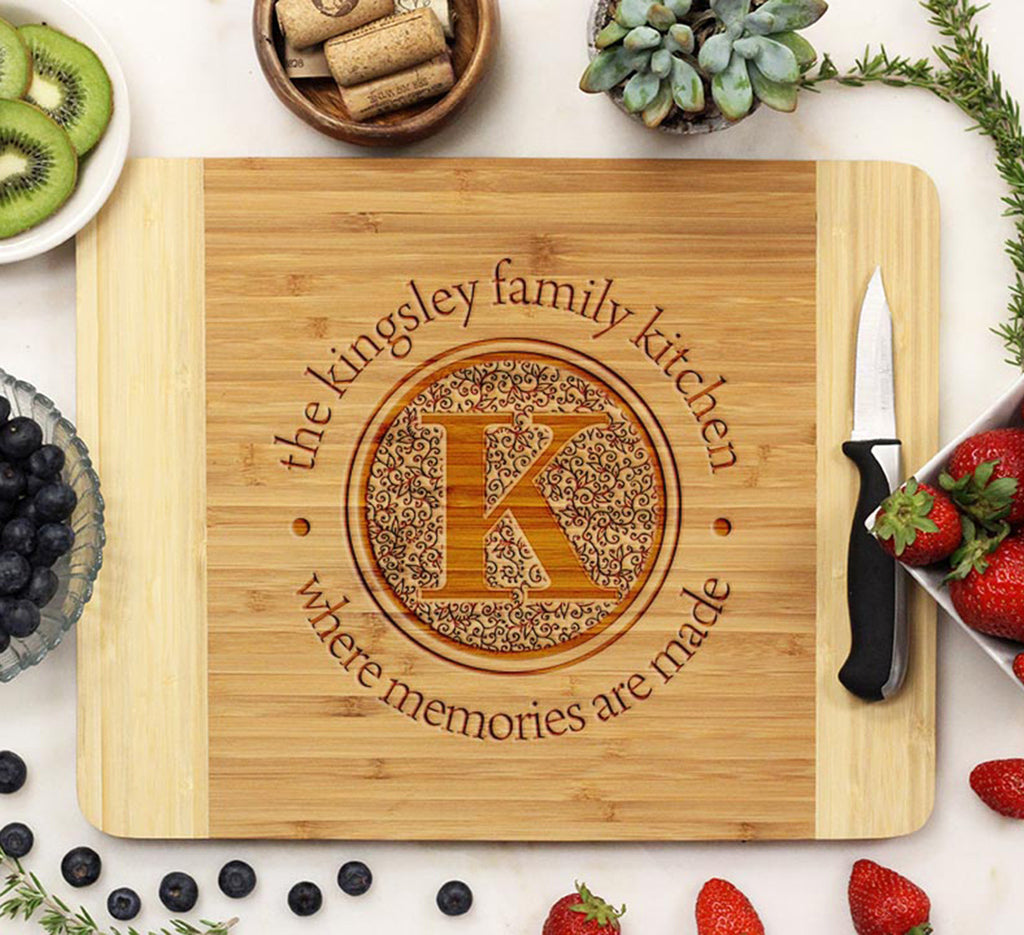 "Cutting Board ""Kingsley Family Kitchen Floral Initial"""