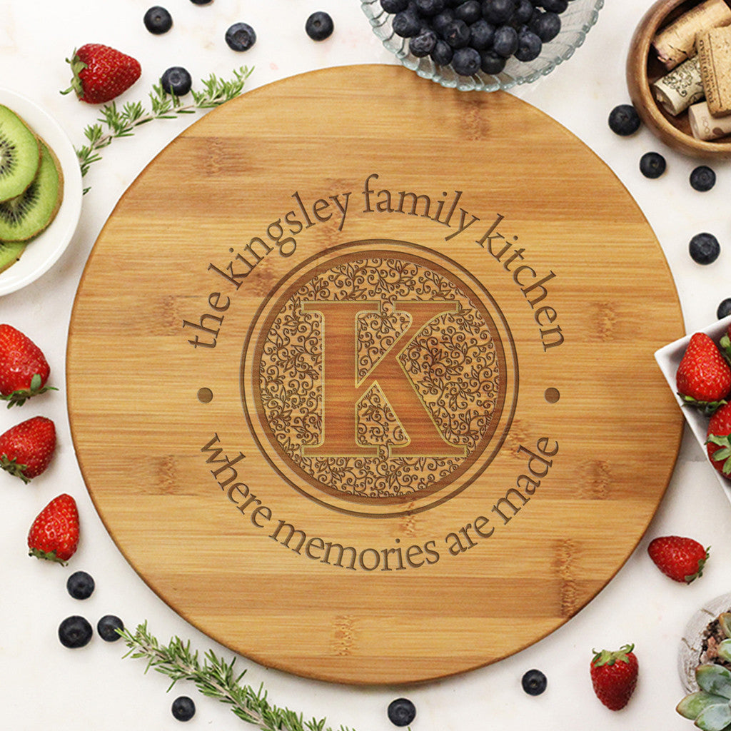 "Round Cutting Board ""Kingsley Family Kitchen Floral Initial"""