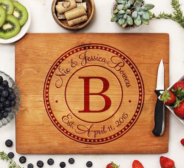 "Cutting Board ""Bowers Round Initial"""