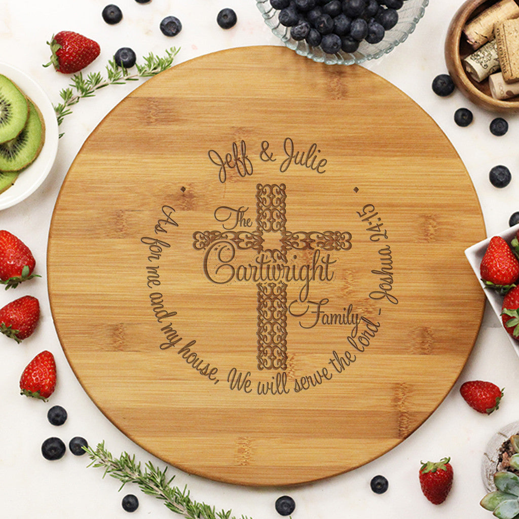 "Round Cutting Board ""Cartwrights Family - We Serve the Lord"""