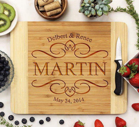 Engraved Cutting Board With Big Last Name & Established Date