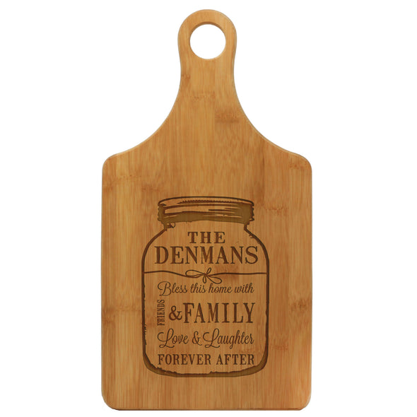 "Paddle Cutting Board, ""Walker Family - Mason Jar"""