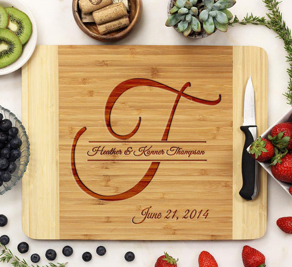 Wood Cutting Board With Names And Established Date
