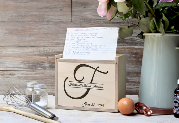 "Custom Engraved Recipe Box, Personalized Recipe Box, ""Thompson"""