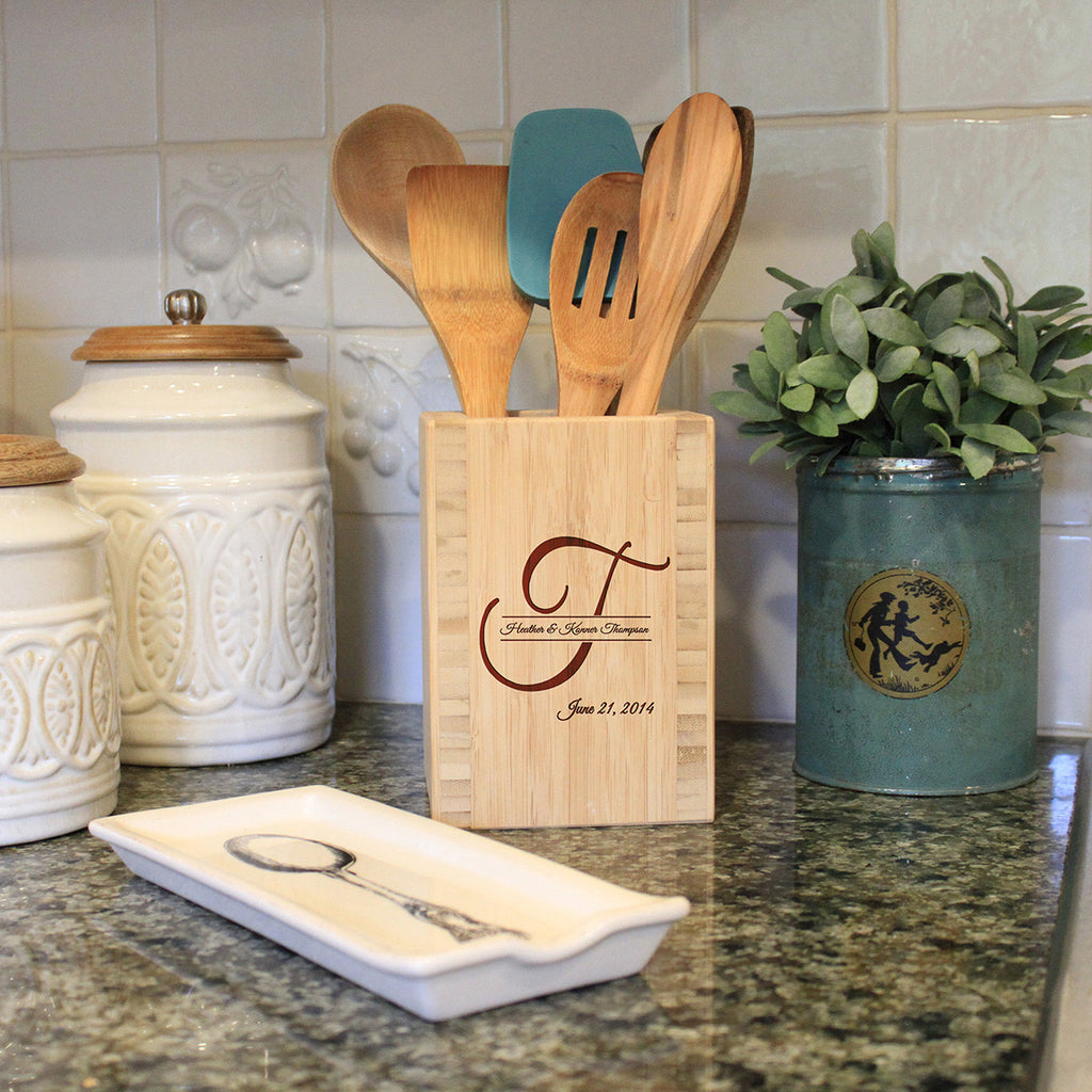 "Utensil Holder - ""Big Initial"""