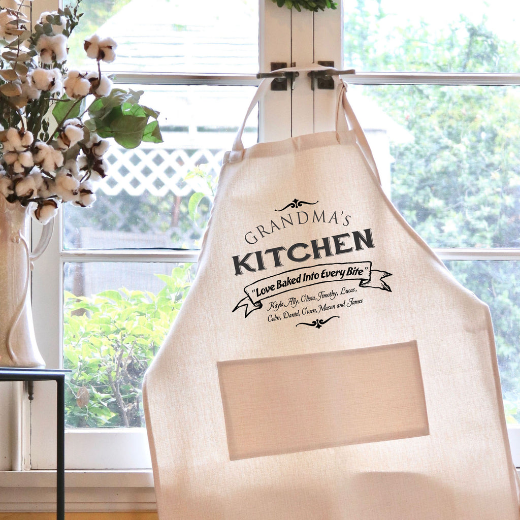 "Grandma's Kitchen Apron, Custom Apron, Personalized Apron for Grandma ""Grandma's Kitchen"""