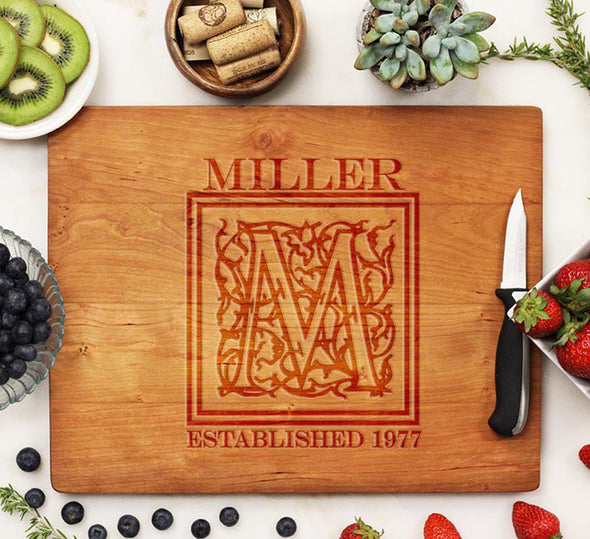 "Cutting Board ""Miller Floral Initial"""