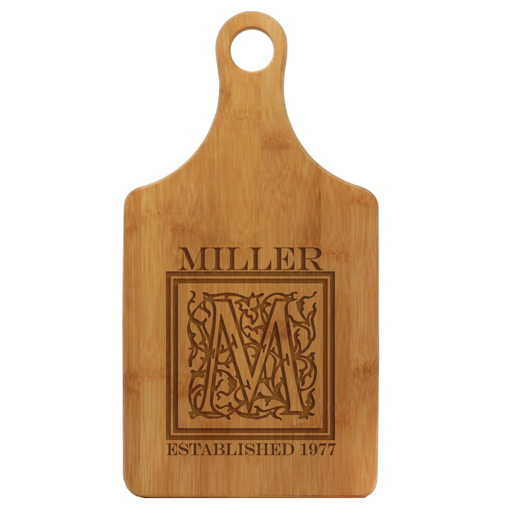 "Paddle Cutting Board ""Miller Floral Initial"""
