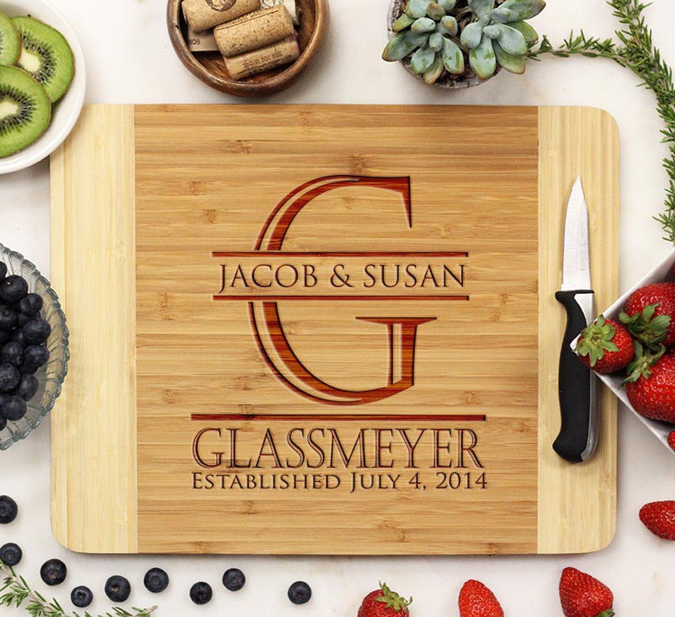 First Amp Last Name Personalized Cutting Board With Initial